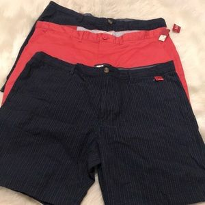 Lot of 3 pairs Merona Flat Front Shorts 38 NWT